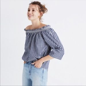 NWT MADEWELL Smocked Gingham Off Shoulder Top S